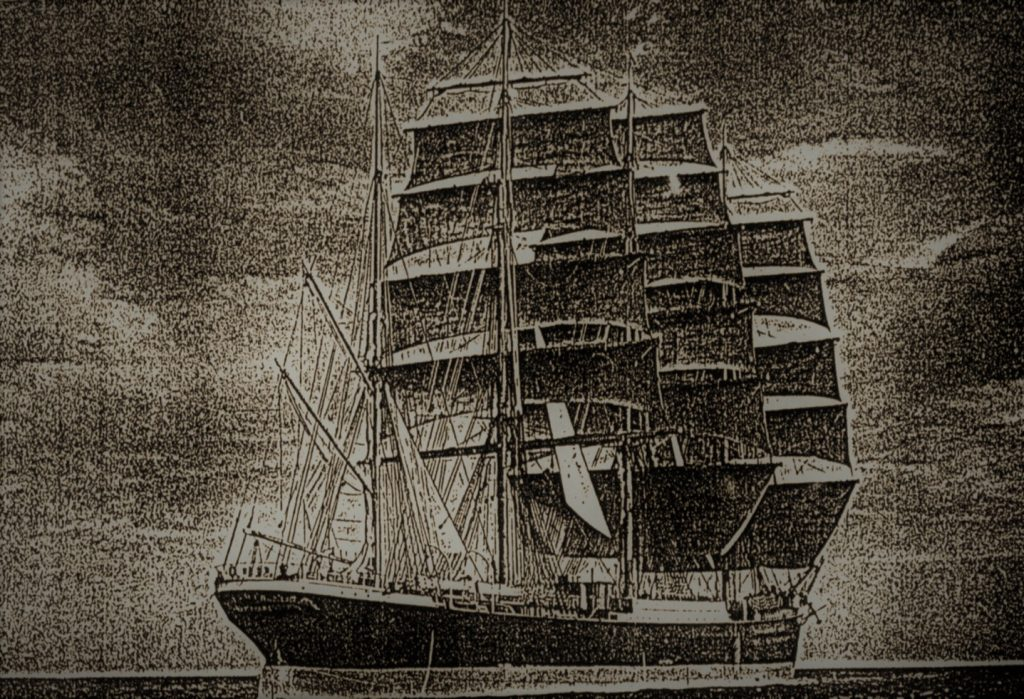 "The ship ""Palmerston"" that brought out the largest contingent of Poles to Otago in 1872."
